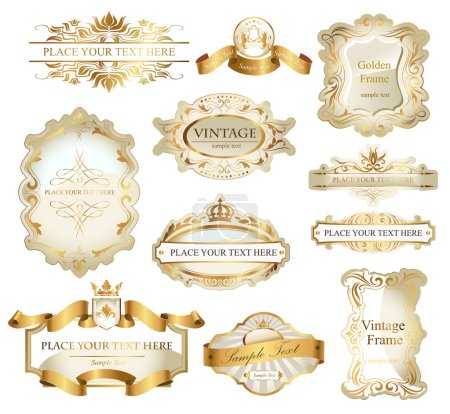 Illustration for Vector frames and ornamental labels set in white and gold. Easy to scale and edit. - Royalty Free Image