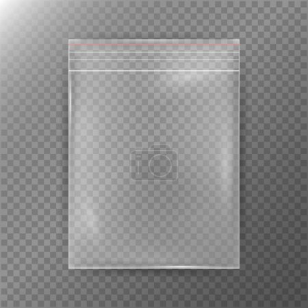 Illustration pour Sac en plastique transparent. Réalité Nylon Icône Contexte. Fermeture éclair transparente vide scellée sac Fermer. Modèle maquillé pour votre conception. Illustration vectorielle - image libre de droit