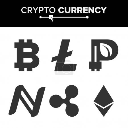Digital Currency Counter Set Vector. Fintech Blockchain. Famous World Cryptography. Crypto Currency Money Finance Sign Illustration. Bitcoin, Litecoin, Peercoin, Ripple Coin, Etherum