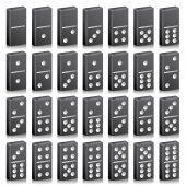 Domino Full Set Vector Realistic 3D Illustration Black Color Classic Game Dominoes Bones Isolated On White Top View 28 Pieces