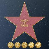 Hollywood Walk Of Fame Vector Star Illustration Famous Sidewalk Boulevard