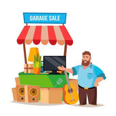 Yard Sale Vector Man Having A Garage Sale Isolated On White Cartoon Character Illustration