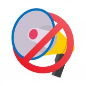 No Megaphone No Speaker Prohibition Sign Vector Flat Isolated On White Illustration No Noise Concept Cartoon Design Element