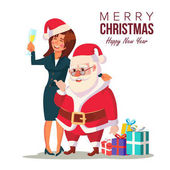 Drunk Woman And Funny Santa Claus Vector Corporate Christmas Party At Restaurant Or Office Meet Up Business Party Celebrating Concept Isolated Flat Cartoon Character Illustration