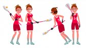 Lacrosse Female Player Vector High School Or Colleges Girl Team Members Professional Athlete Sport Competitions Flat Cartoon Illustration