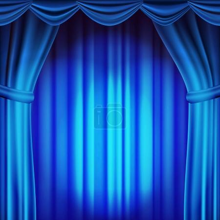Illustration pour Vecteur de rideau de théâtre bleu. Théâtre, opéra ou scène de cinéma. Illustration réaliste - image libre de droit