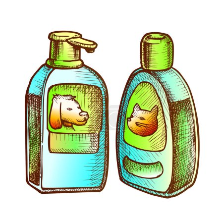 Illustration for Shampoo Bottles For Cat And Dog Monochrome Vector. Animal Bottles With Cream For Bath. Vet Pet Care Accessory Engraving Template Hand Drawn In Vintage Style Color Illustration - Royalty Free Image