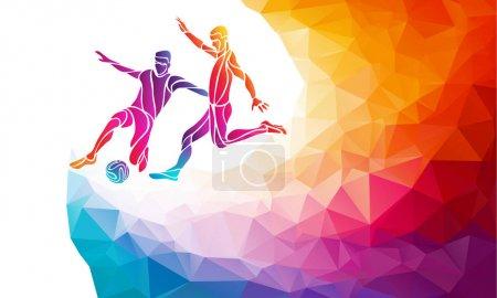 Photo pour Des joueurs de foot créatifs. Les joueurs de football donnent un coup de pied au ballon, illustration vectorielle colorée avec un fond ou un modèle de bannière dans un style polygone abstrait à la mode et un dos arc-en-ciel - image libre de droit