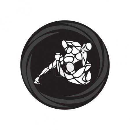 Illustration pour Combattants de martiales arts mixtes. Emblème de club de sport. Illustration vectorielle de combat mixfight - image libre de droit