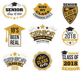 The set of black and gold colored senior text signs with the Graduation Cap ribbon vector illustration Class of 2018 grunge badges on white background