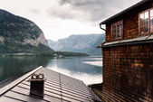 Scenic view of Hallstatt lake and house in Austrian Alps