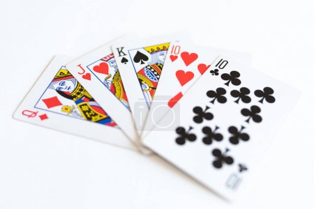 Photo pour Playing cards, casino game, white background - image libre de droit