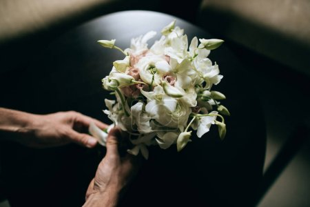 white wedding bouquet close up