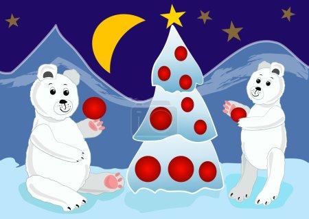 Illustration pour Ours de glace préparant l'arbre de Noël avec des boules rouges. Illustration de carte de Noël pour enfants . - image libre de droit