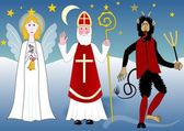 Saint Nicolas with angel and devil in night countryside with stars and moon. Illustration of the feast on December 5