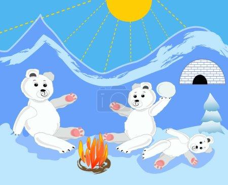 Illustration pour Ours de glace oursons avec mère par le feu de joie. Ours de glace par igloo. Ours de glace assis. Ours de glace bébé couché. Jolie illustration d'ours de glace. Ours de glace dans le paysage de glace . - image libre de droit