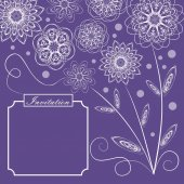 Ultraviolet background with monoline white floral lace patterns in vintage style square design with text frame for invitation trendy purple color combined with white elegant template