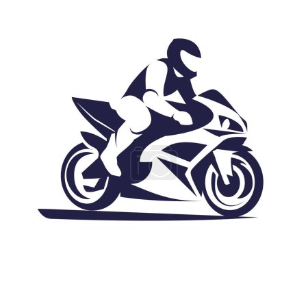 Vector illustration of motorcycle racer on sportbi...