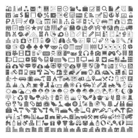 Photo for 400 Black Icons - Business, Shopping, School Supplies, Medical, Gambling, Multimedia, Computer, Network, Home Appliance, Travel, Winter, Weather, Ecology, Car Parts, Tools, Industry, Baby, Buildings - Royalty Free Image