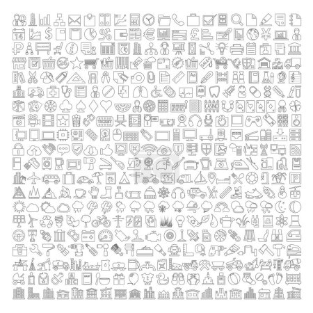 Photo for 400 Line Icons - Business, Shopping, School Supplies, Medical, Gambling, Multimedia, Computer, Network, Home Appliance, Travel, Winter, Weather, Ecology, Car Parts, Tools, Industry, Baby, Buildings - Royalty Free Image
