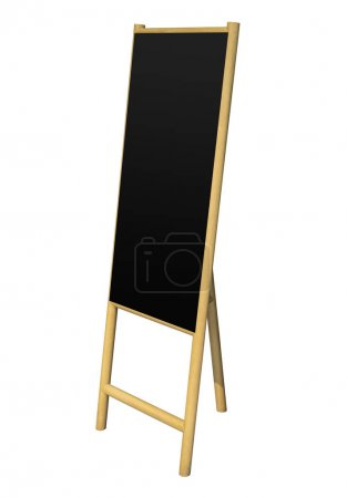 Black board stand wooden easel Blank board isolated