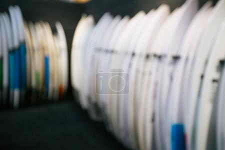 Set of different new white surf boards