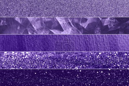 Set of Ultra Violet sparkling background textures. Blured glitter background with blinking stars. Color of the year 2018.