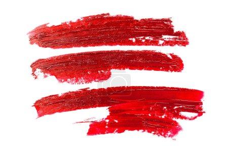 Photo pour Frottis de rouge à lèvres. Concept des cosmétiques. Élément isolé en blanc. - image libre de droit