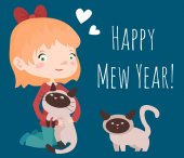 Girl and cats with Happy mew year