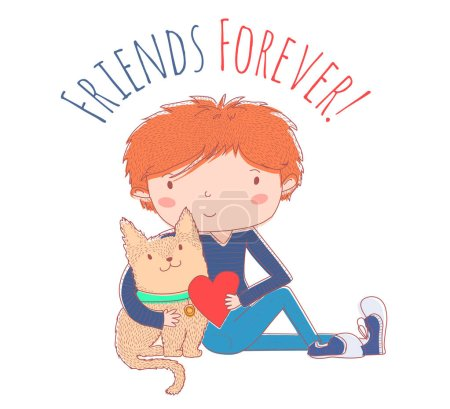 Illustration for Vector illustration boy and cat embrace. Best friends - Royalty Free Image