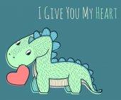 Little dinosaur with red heart  illustration for children