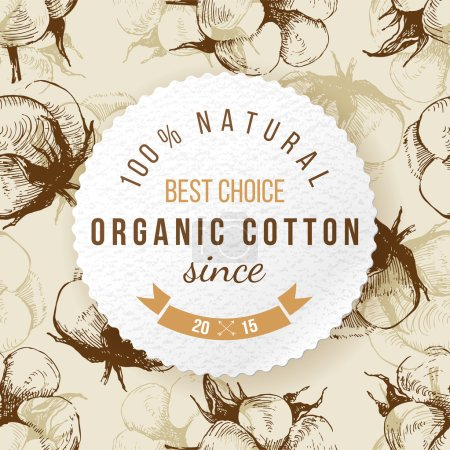 Illustration for Organic cotton round label on seamless background - Royalty Free Image