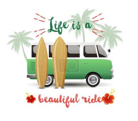 Summer time background with hippie van
