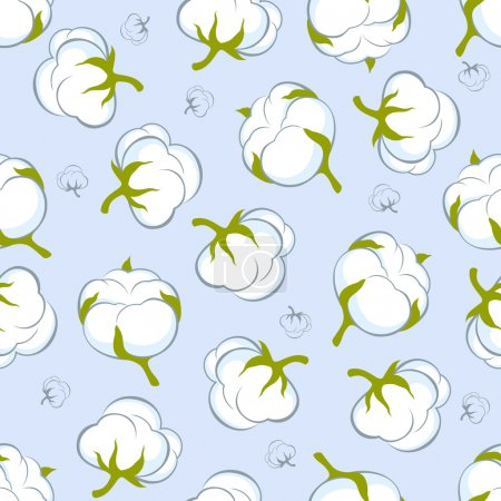 Illustration for Seamless pattern with cotton plant on blue background - Royalty Free Image