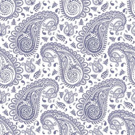 Ilustración de Monocromática altamente detallados de patrones sin fisuras paisley - Imagen libre de derechos