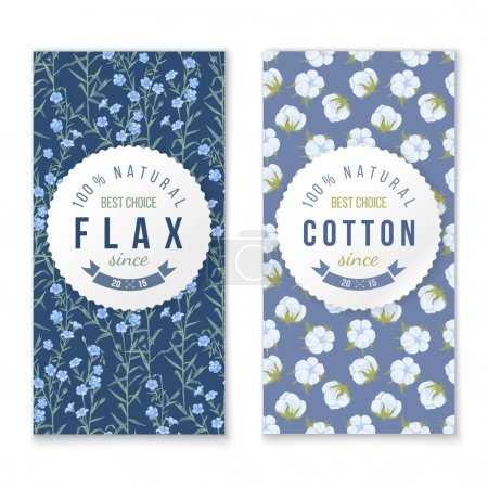 Illustration for Flax and cotton vertical banners with round labels - Royalty Free Image