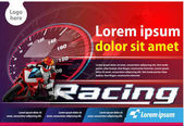 Vector template vertical poster or print ads motor cycle racing event