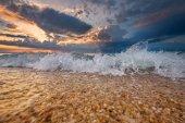 Colorful beach destination sunrise or sunset with beautiful brea