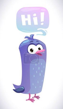 Illustration for Funny cartoon blue bird with speech bubble. Isolated on white. - Royalty Free Image