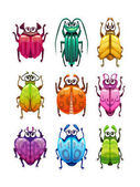 Funny cartoon fantasy bugs set Comic colorful beetle icons collection Vector assets for game design