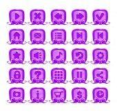Cute cartoon violet buttons set Girlish vector design elements for web design Game menu icons