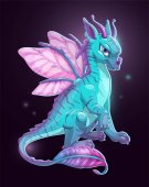 Cartoon blue fantasy dragon on dark background Vector illustration