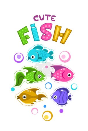 Funny childish print template with colorful fishes