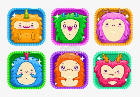 App icons with funny cartoon colorful monsters.