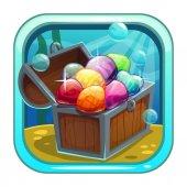 Cartoon app icon with treasure chest