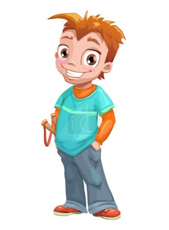 Funny standing red haired boy.