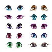 Cartoon girls eyes set Vector girlish eye face elements isolated on white
