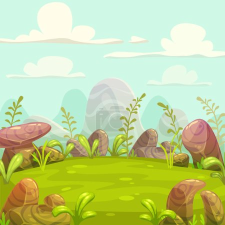 Illustration for Cartoon cute sunny day nature landscape. Vector outdoor illustration. - Royalty Free Image