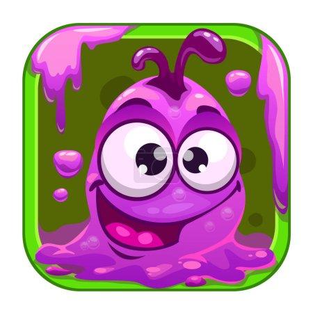Illustration pour Icône App avec drôle mignon monstre visqueux violet. Actif vectoriel jeu . - image libre de droit