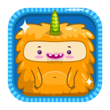 App icon with funny cartoon yellow fluffy monster.